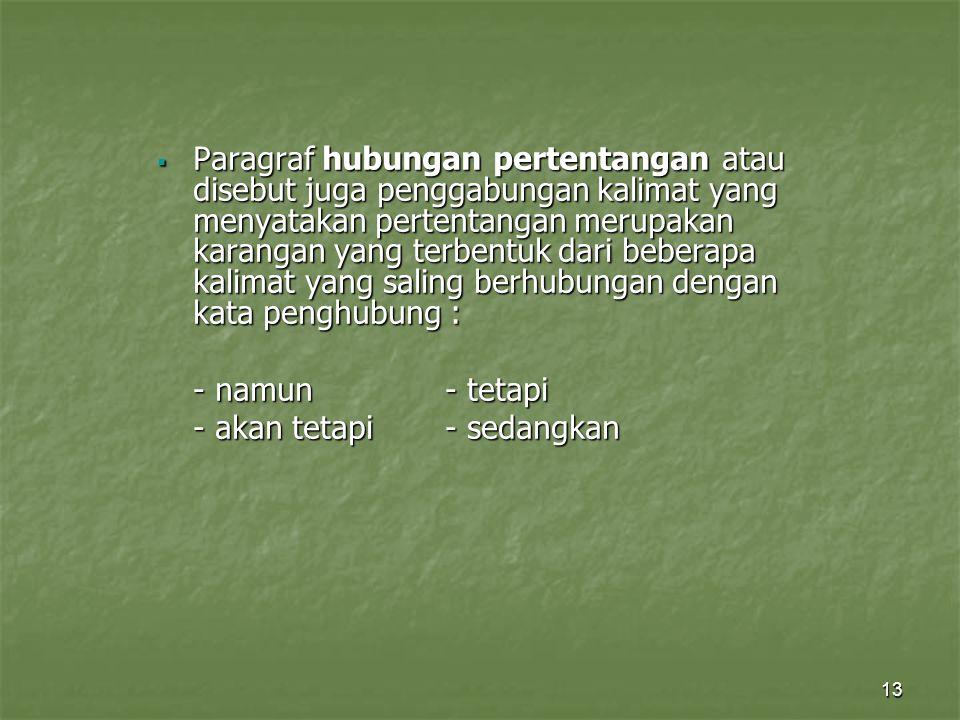 13  Paragraf hubungan pertentangan atau disebut juga penggabungan kalimat yang menyatakan pertentangan merupakan karangan yang terbentuk dari beberap
