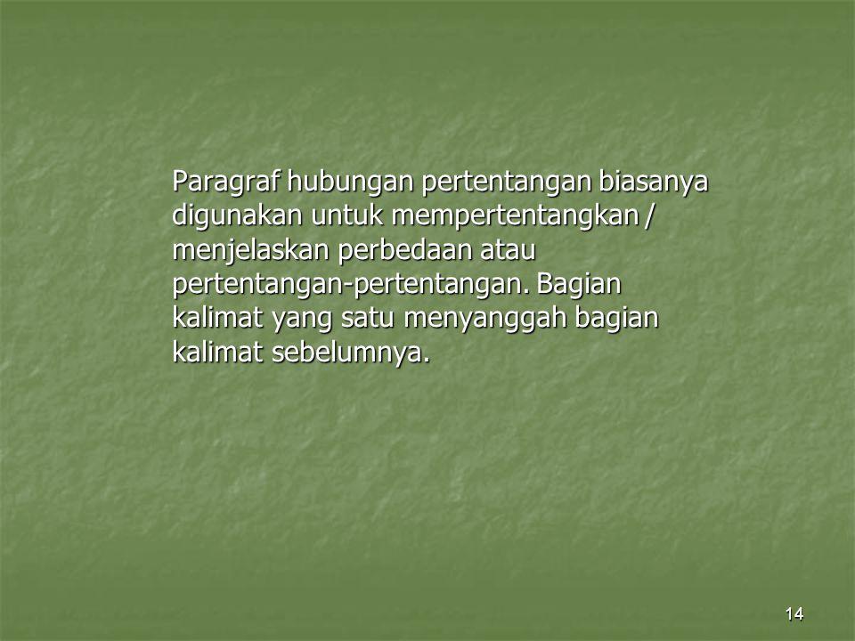 14 Paragraf hubungan pertentangan biasanya digunakan untuk mempertentangkan / menjelaskan perbedaan atau pertentangan-pertentangan. Bagian kalimat yan
