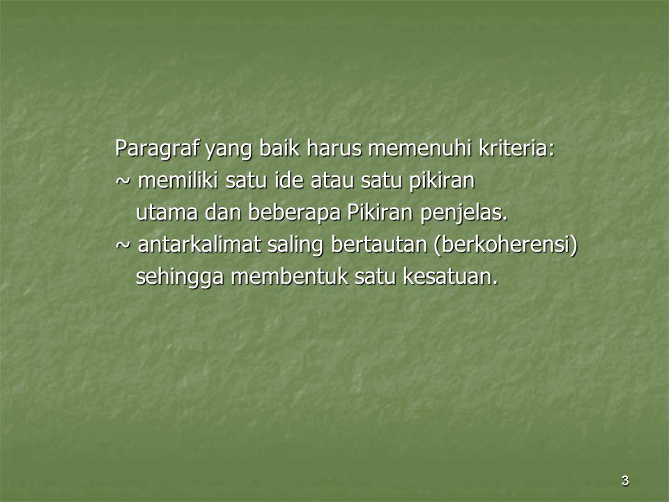 3 Paragraf yang baik harus memenuhi kriteria: ~ memiliki satu ide atau satu pikiran utama dan beberapa Pikiran penjelas. utama dan beberapa Pikiran pe