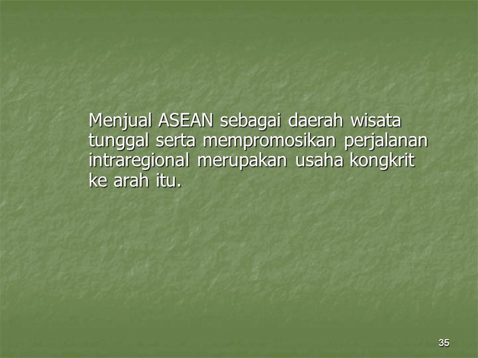 35 Menjual ASEAN sebagai daerah wisata tunggal serta mempromosikan perjalanan intraregional merupakan usaha kongkrit ke arah itu.