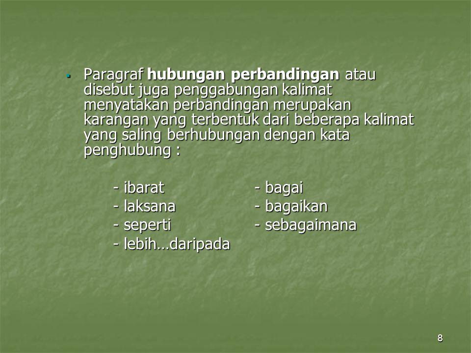 8  Paragraf hubungan perbandingan atau disebut juga penggabungan kalimat menyatakan perbandingan merupakan karangan yang terbentuk dari beberapa kali