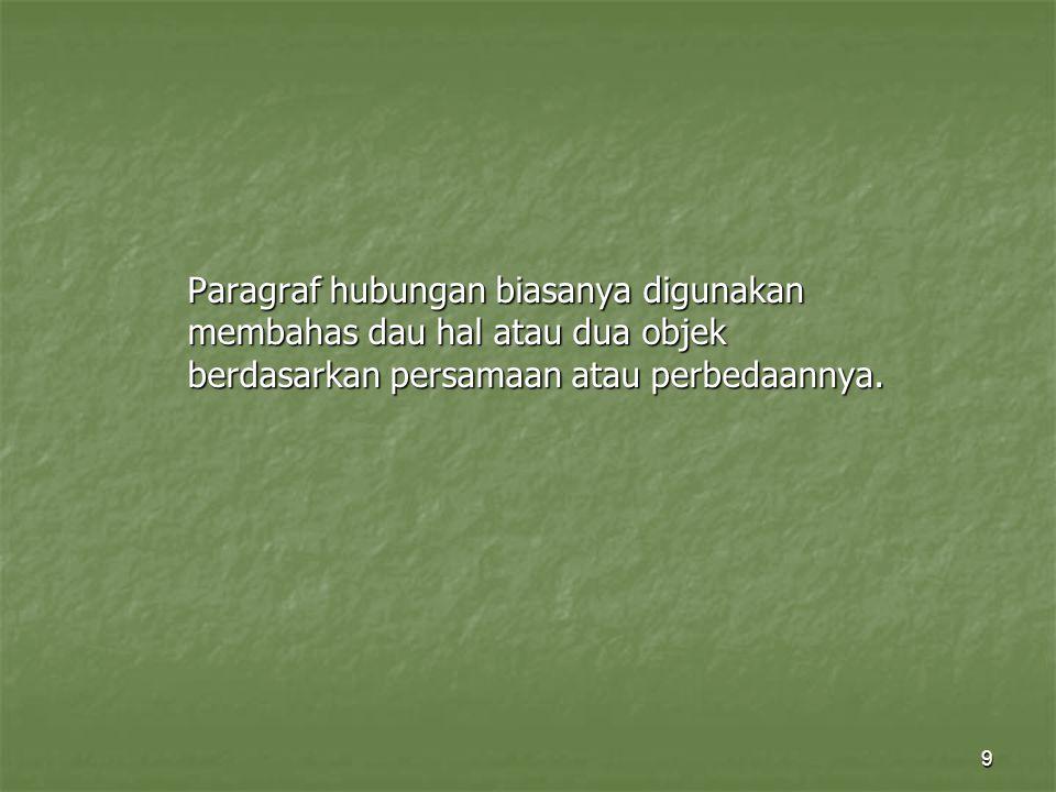 9 Paragraf hubungan biasanya digunakan membahas dau hal atau dua objek berdasarkan persamaan atau perbedaannya.