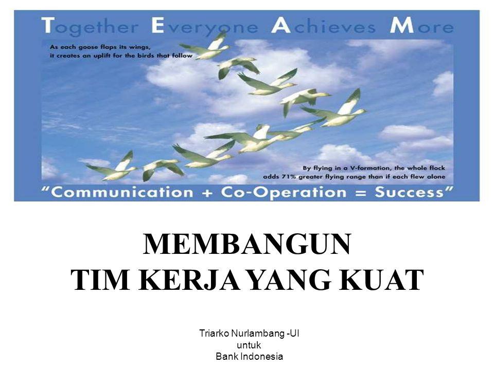 MEMBANGUN TIM KERJA YANG KUAT Triarko Nurlambang -UI untuk Bank Indonesia