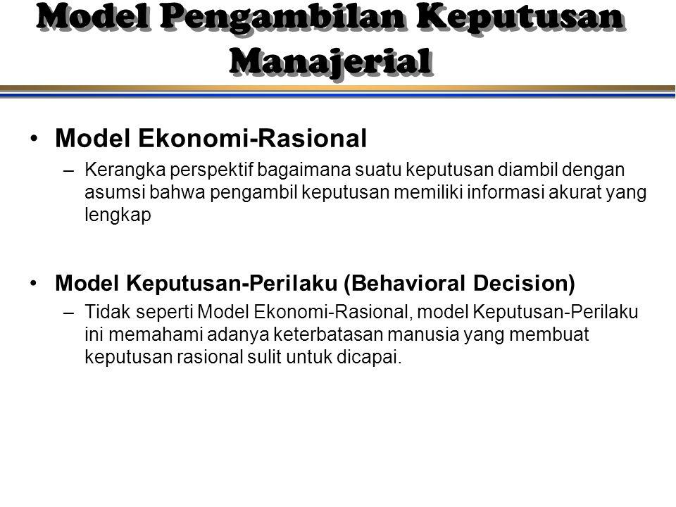Model Pengambilan Keputusan Manajerial Model Ekonomi-Rasional –Kerangka perspektif bagaimana suatu keputusan diambil dengan asumsi bahwa pengambil kep