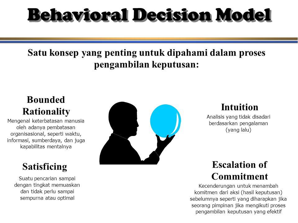 Behavioral Decision Model Satu konsep yang penting untuk dipahami dalam proses pengambilan keputusan: Bounded Rationality Intuition Satisficing Escala