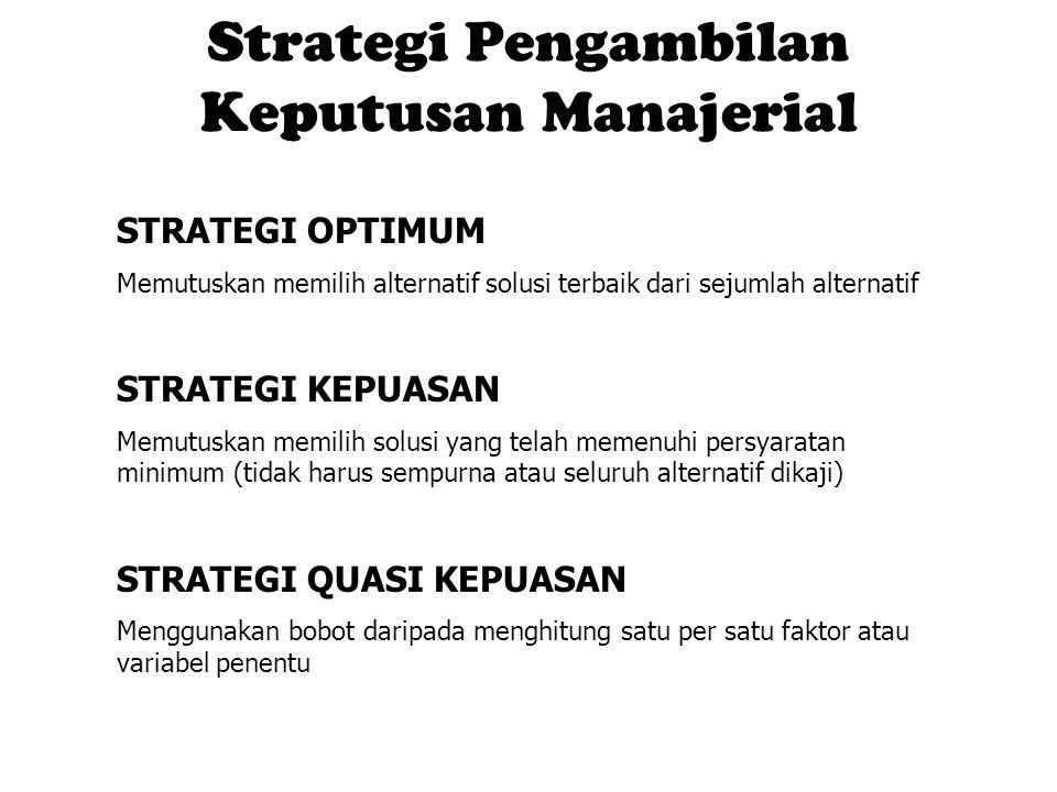 Strategi Pengambilan Keputusan Manajerial STRATEGI OPTIMUM Memutuskan memilih alternatif solusi terbaik dari sejumlah alternatif STRATEGI KEPUASAN Mem