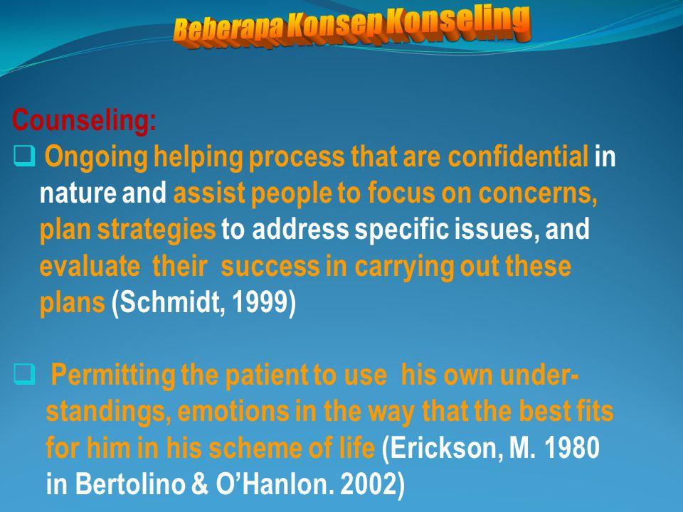 Konseling:  Hubungan interpersonal dua orang atau lebih  Berkenaan dgn segi afektif: emosi, sikap, nilai  Memandirikan klien: menemukan-memecahkan masalah, mengembangkan diri oleh dirinya  Meeting of mind , emotional insight