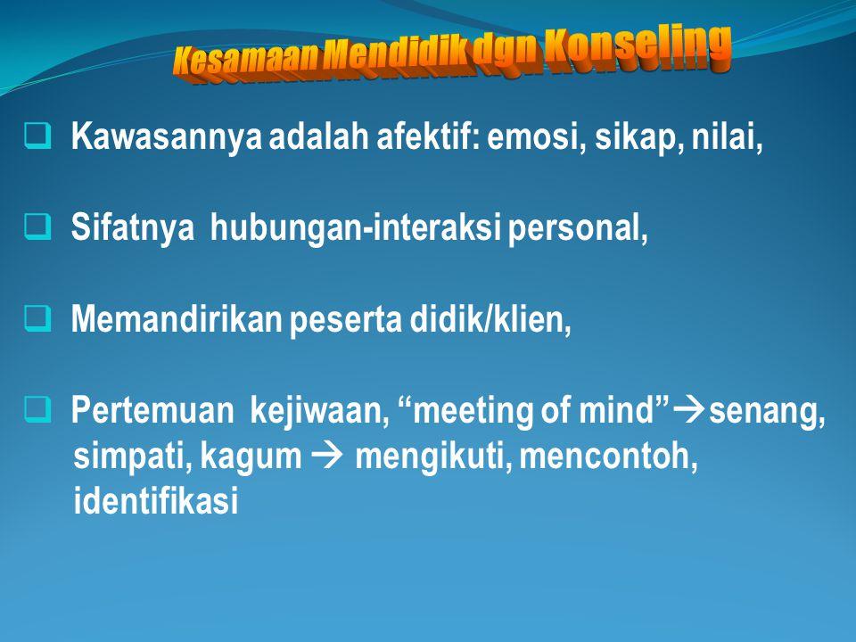  Grand theory konseling adalah Psikologi, ilmu yg bersifat deskriptif: menjelaskan apa adanya, as it is , das sein , lepas nilai.