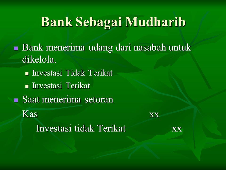 Bank Sebagai Mudharib Bank menerima udang dari nasabah untuk dikelola. Bank menerima udang dari nasabah untuk dikelola. Investasi Tidak Terikat Invest