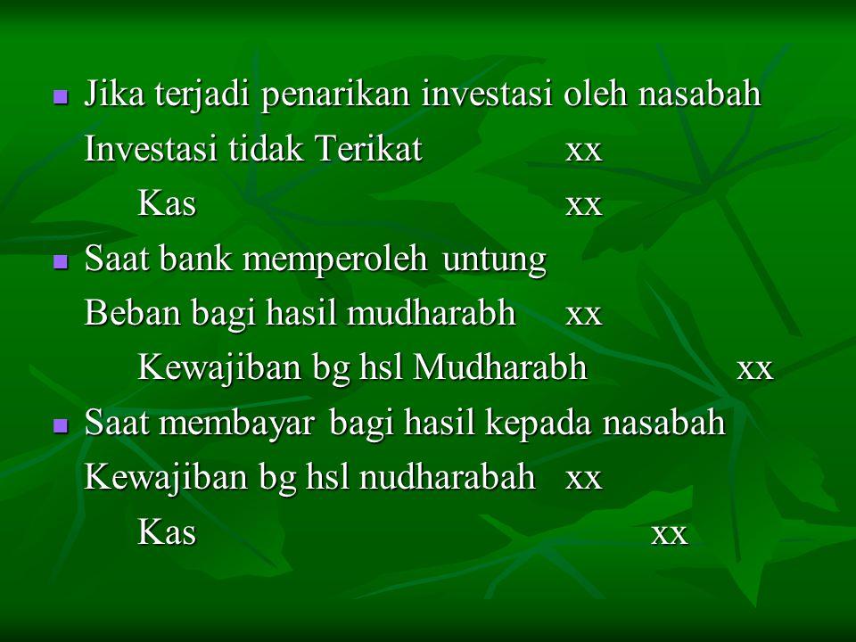 Jika terjadi penarikan investasi oleh nasabah Jika terjadi penarikan investasi oleh nasabah Investasi tidak Terikatxx Kasxx Saat bank memperoleh untun