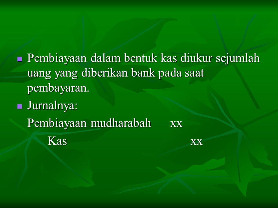 Pembiayaan dalam bentuk kas diukur sejumlah uang yang diberikan bank pada saat pembayaran. Pembiayaan dalam bentuk kas diukur sejumlah uang yang diber