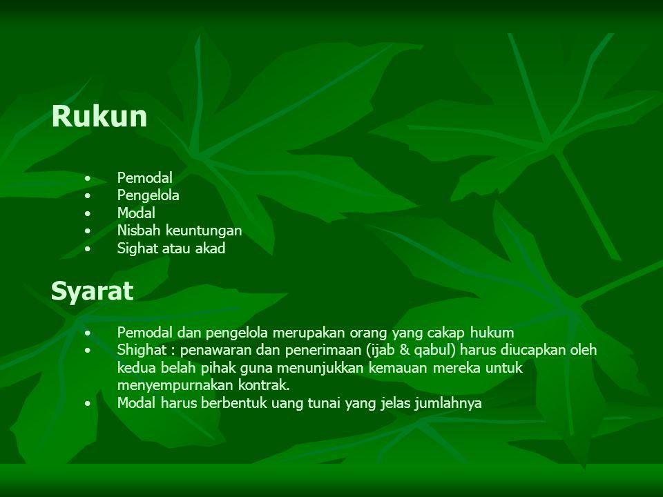 SKEMA MUDHARABAH BANK NASABAH MODAL 100 % SKILL KEUNTUNGAN PROYEK