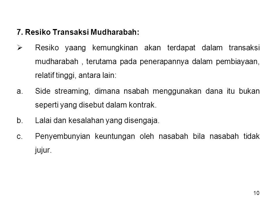 10 7. Resiko Transaksi Mudharabah:  Resiko yaang kemungkinan akan terdapat dalam transaksi mudharabah, terutama pada penerapannya dalam pembiayaan, r