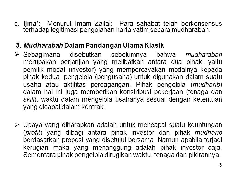 5 c. Ijma': Menurut Imam Zailai: Para sahabat telah berkonsensus terhadap legitimasi pengolahan harta yatim secara mudharabah. 3. Mudharabah Dalam Pan