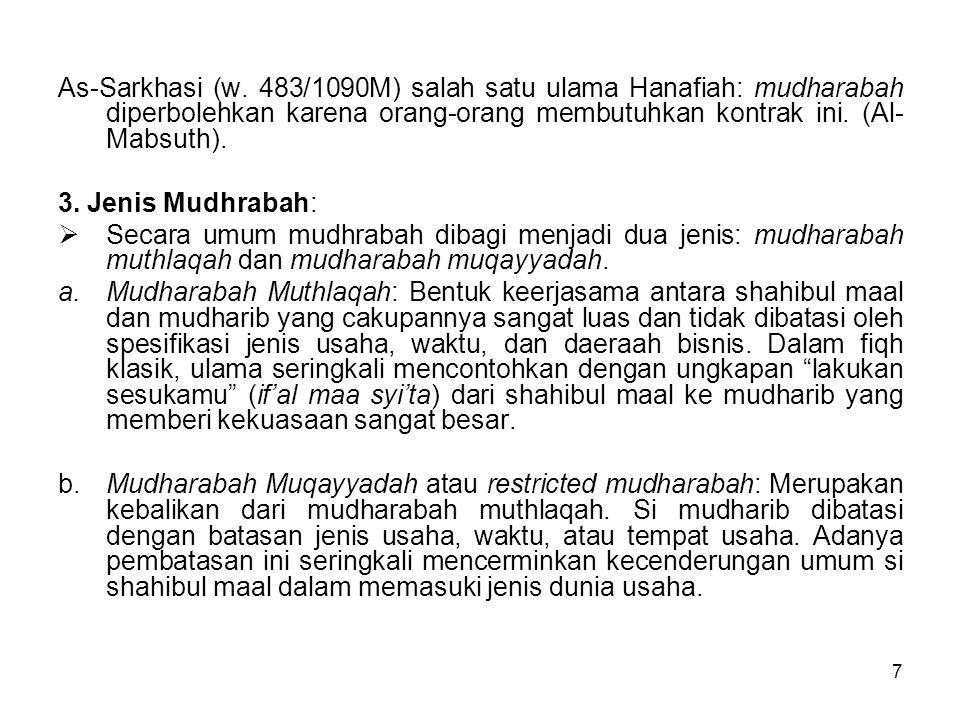 7 As-Sarkhasi (w. 483/1090M) salah satu ulama Hanafiah: mudharabah diperbolehkan karena orang-orang membutuhkan kontrak ini. (Al- Mabsuth). 3. Jenis M