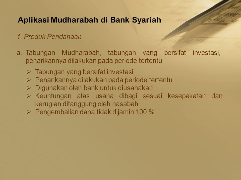 Aplikasi Mudharabah di Bank Syariah 1. Produk Pendanaan a.Tabungan Mudharabah, tabungan yang bersifat investasi, penarikannya dilakukan pada periode t
