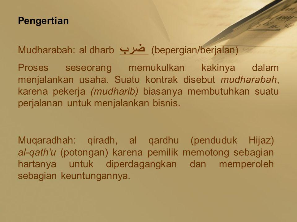 Pengertian Mudharabah: al dharb ضرب (bepergian/berjalan) Proses seseorang memukulkan kakinya dalam menjalankan usaha. Suatu kontrak disebut mudharabah