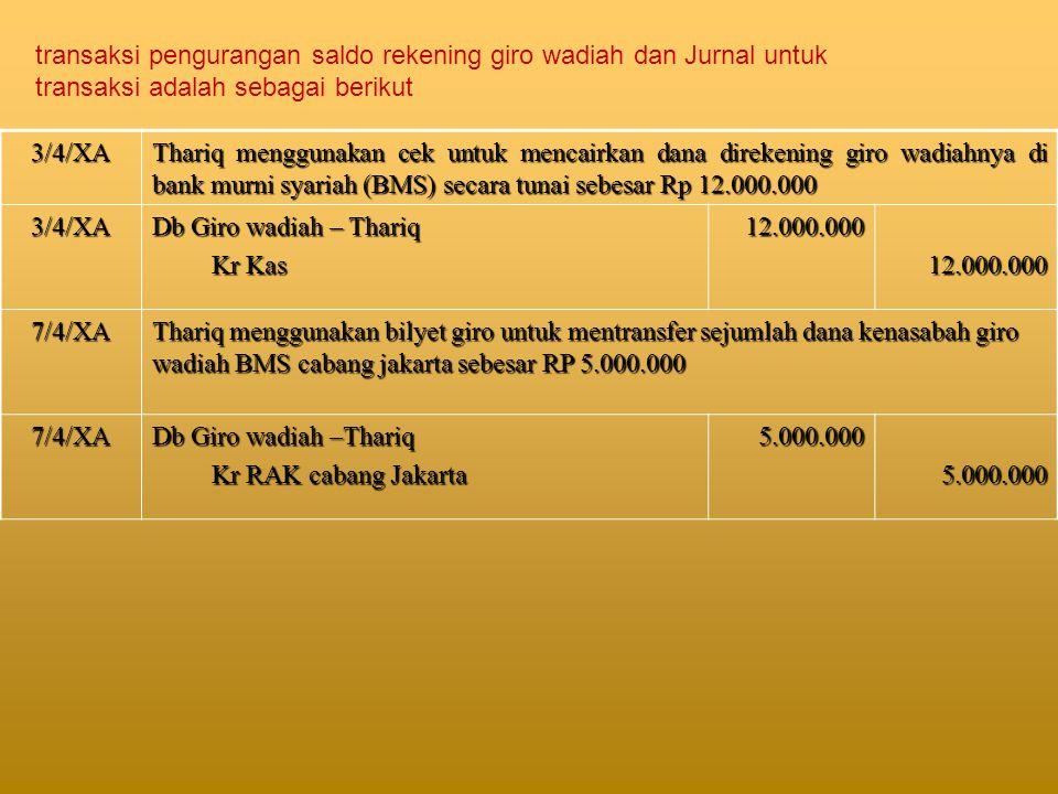 3/4/XA Thariq menggunakan cek untuk mencairkan dana direkening giro wadiahnya di bank murni syariah (BMS) secara tunai sebesar Rp 12.000.000 3/4/XA Db