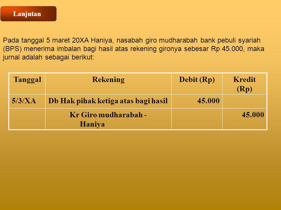 Lanjutan Pada tanggal 5 maret 20XA Haniya, nasabah giro mudharabah bank pebuli syariah (BPS) menerima imbalan bagi hasil atas rekening gironya sebesar
