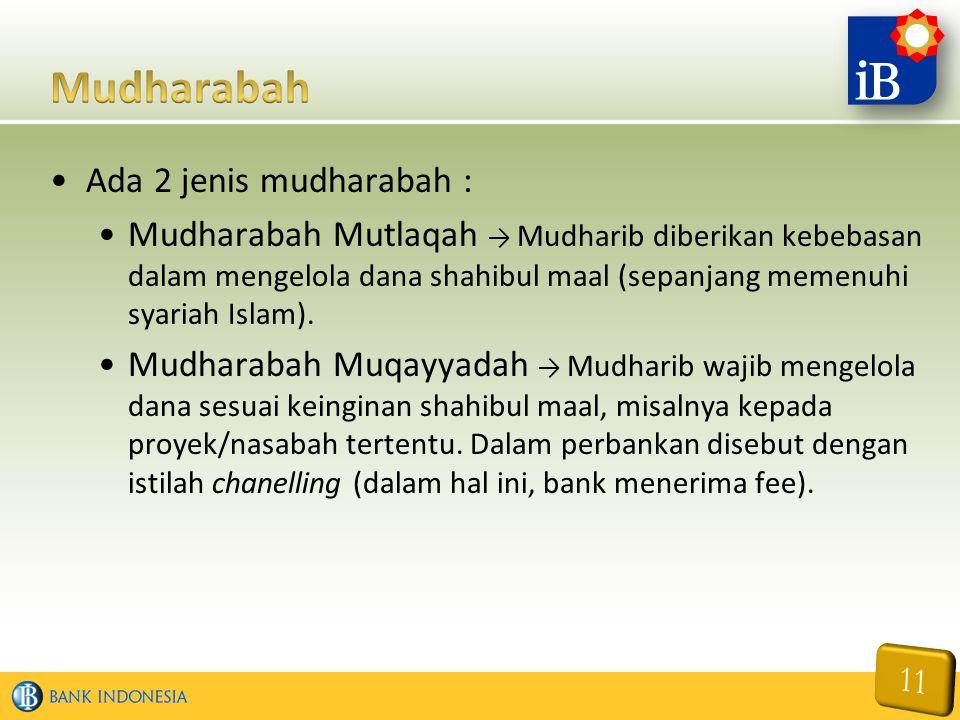 Ada 2 jenis mudharabah : Mudharabah Mutlaqah → Mudharib diberikan kebebasan dalam mengelola dana shahibul maal (sepanjang memenuhi syariah Islam). Mud