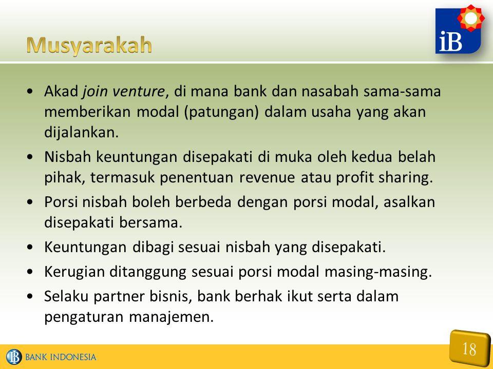 Akad join venture, di mana bank dan nasabah sama-sama memberikan modal (patungan) dalam usaha yang akan dijalankan. Nisbah keuntungan disepakati di mu