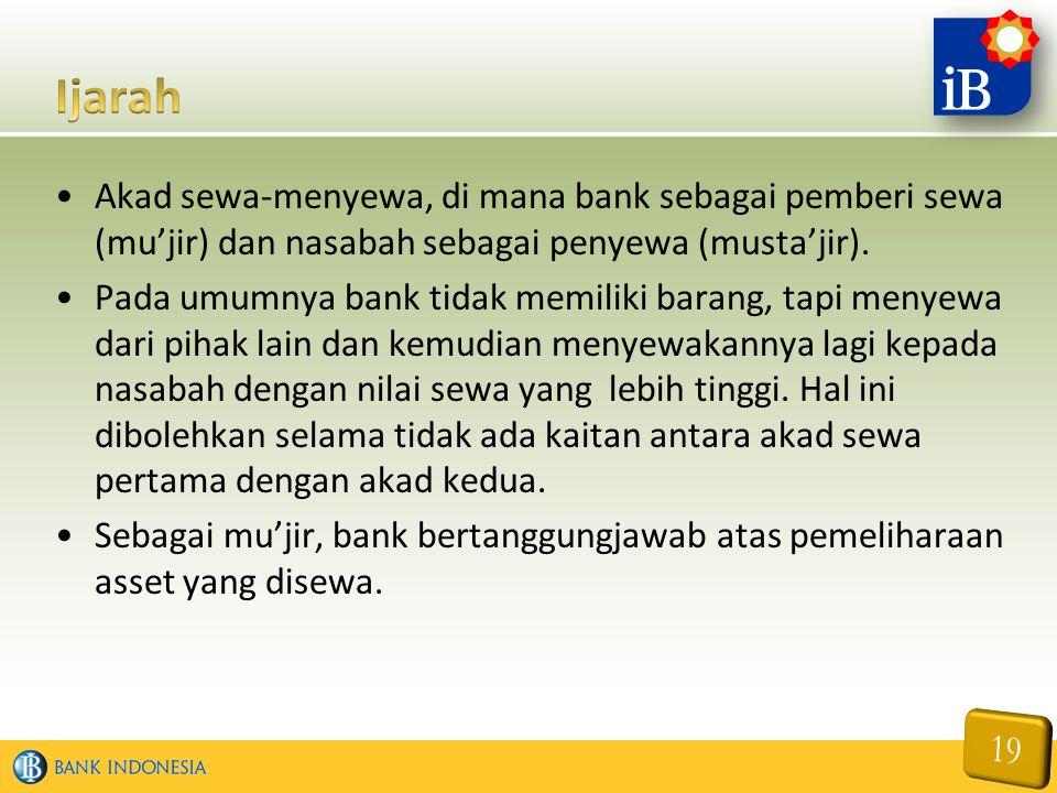 Akad sewa-menyewa, di mana bank sebagai pemberi sewa (mu'jir) dan nasabah sebagai penyewa (musta'jir).