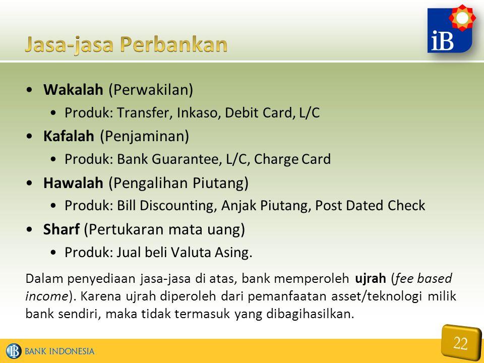 Wakalah (Perwakilan) Produk: Transfer, Inkaso, Debit Card, L/C Kafalah (Penjaminan) Produk: Bank Guarantee, L/C, Charge Card Hawalah (Pengalihan Piuta