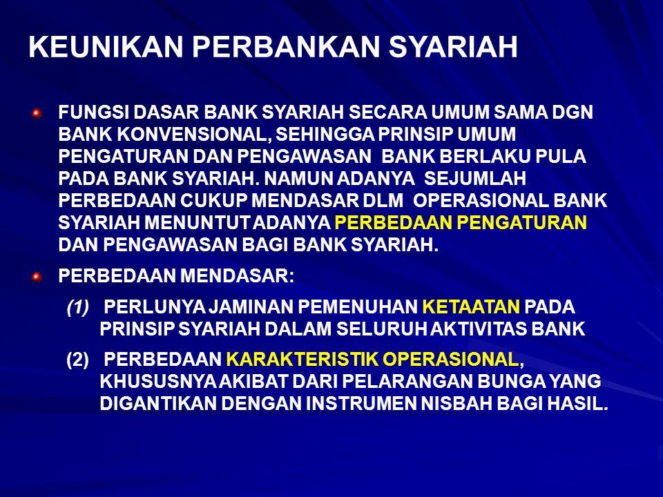 KEUNIKAN PERBANKAN SYARIAH FUNGSI DASAR BANK SYARIAH SECARA UMUM SAMA DGN BANK KONVENSIONAL, SEHINGGA PRINSIP UMUM PENGATURAN DAN PENGAWASAN BANK BERL