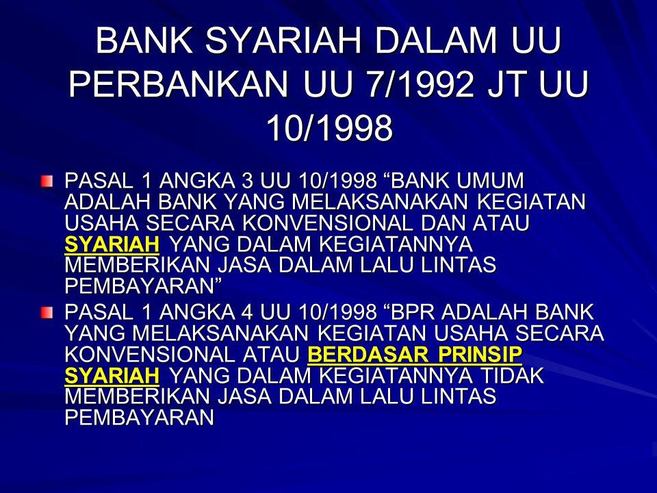 "BANK SYARIAH DALAM UU PERBANKAN UU 7/1992 JT UU 10/1998 PASAL 1 ANGKA 3 UU 10/1998 ""BANK UMUM ADALAH BANK YANG MELAKSANAKAN KEGIATAN USAHA SECARA KONV"