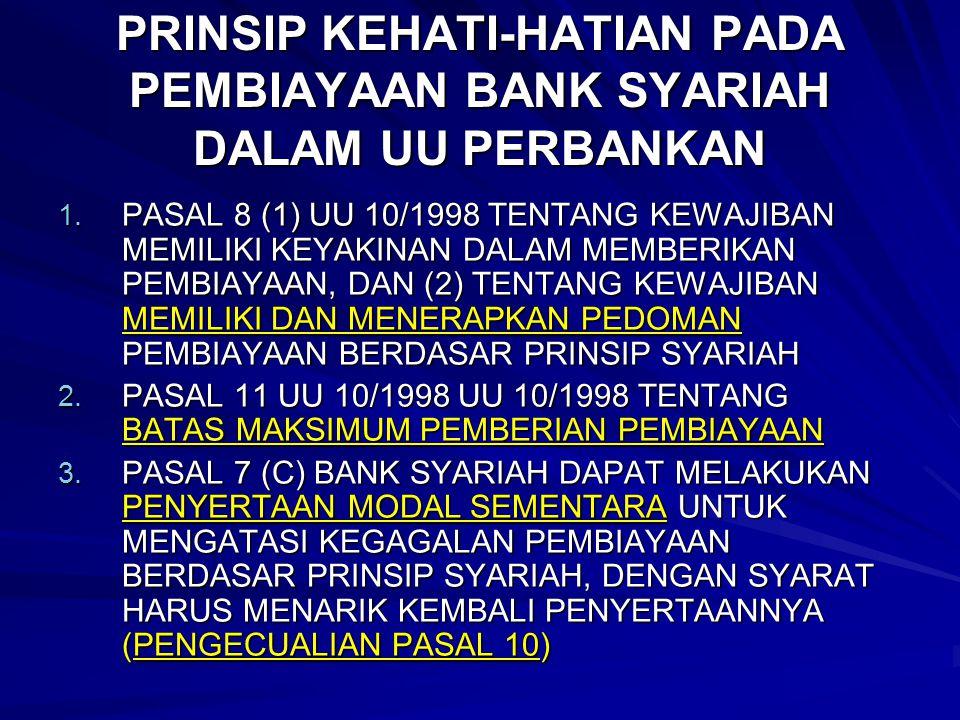 PRINSIP KEHATI-HATIAN PADA PEMBIAYAAN BANK SYARIAH DALAM UU PERBANKAN 1. PASAL 8 (1) UU 10/1998 TENTANG KEWAJIBAN MEMILIKI KEYAKINAN DALAM MEMBERIKAN