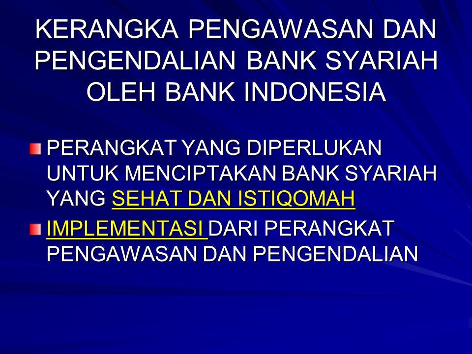 KERANGKA PENGAWASAN DAN PENGENDALIAN BANK SYARIAH OLEH BANK INDONESIA PERANGKAT YANG DIPERLUKAN UNTUK MENCIPTAKAN BANK SYARIAH YANG SEHAT DAN ISTIQOMA
