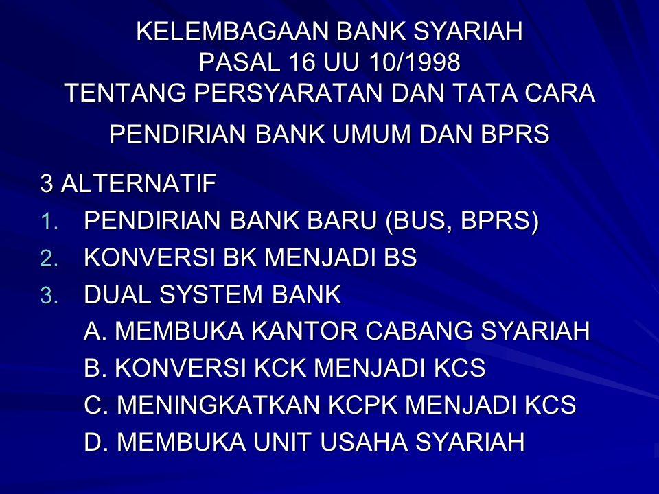 KELEMBAGAAN BANK SYARIAH PASAL 16 UU 10/1998 TENTANG PERSYARATAN DAN TATA CARA PENDIRIAN BANK UMUM DAN BPRS 3 ALTERNATIF 1. PENDIRIAN BANK BARU (BUS,