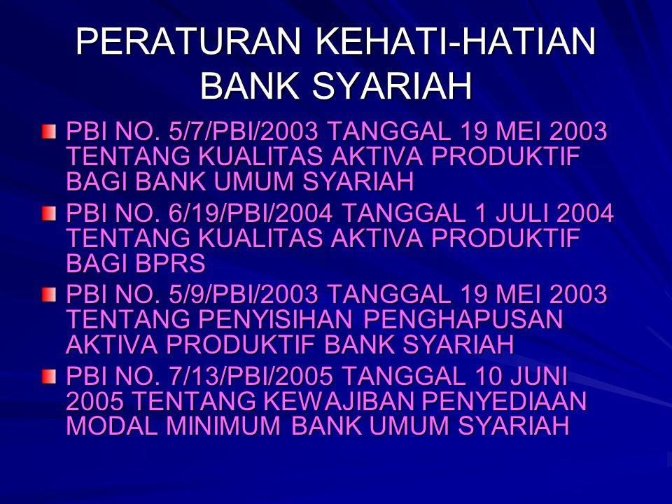 PERATURAN KEHATI-HATIAN BANK SYARIAH PBI NO. 5/7/PBI/2003 TANGGAL 19 MEI 2003 TENTANG KUALITAS AKTIVA PRODUKTIF BAGI BANK UMUM SYARIAH PBI NO. 6/19/PB