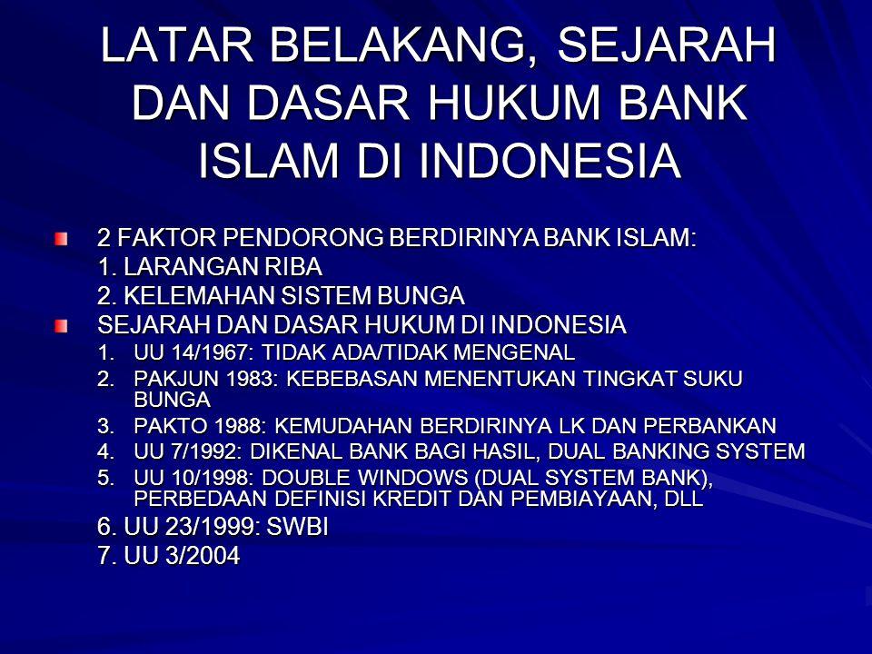 LATAR BELAKANG, SEJARAH DAN DASAR HUKUM BANK ISLAM DI INDONESIA 2 FAKTOR PENDORONG BERDIRINYA BANK ISLAM: 1. LARANGAN RIBA 2. KELEMAHAN SISTEM BUNGA S