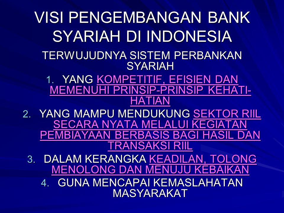 VISI PENGEMBANGAN BANK SYARIAH DI INDONESIA TERWUJUDNYA SISTEM PERBANKAN SYARIAH 1. YANG KOMPETITIF, EFISIEN DAN MEMENUHI PRINSIP-PRINSIP KEHATI- HATI