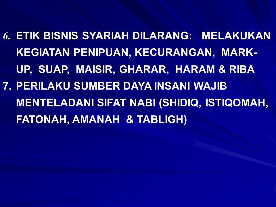 6. ETIK BISNIS SYARIAH DILARANG: MELAKUKAN KEGIATAN PENIPUAN, KECURANGAN, MARK- UP, SUAP, MAISIR, GHARAR, HARAM & RIBA 7.PERILAKU SUMBER DAYA INSANI W