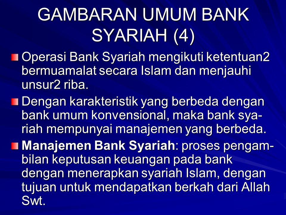 GAMBARAN UMUM BANK SYARIAH (3) Bank Syariah: bank yang dalam menjalan- kan operasinya berdasarkan pada hukum atau syariah Islam dengan mengacu pada Al Qur'an & Al Hadist.