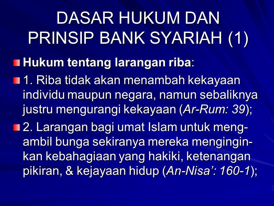 KONDISI UMUM BANK SYARIAH DI INDONESIA Indikator20062007November 2008 Aset (Rp triliun)26,72236,53647,178 DPK (Rp triliun)20,44527,94434,422 Pembiayaan (Rp tril)20,67228,01138,557 Share (%)1,581,842,07 FDR (%)98,999,8111,7 NPF Net (Rp triliun)3,32,4