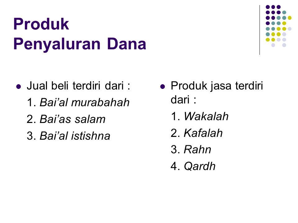 Produk Penyaluran Dana Jual beli terdiri dari : 1. Bai'al murabahah 2. Bai'as salam 3. Bai'al istishna Produk jasa terdiri dari : 1. Wakalah 2. Kafala