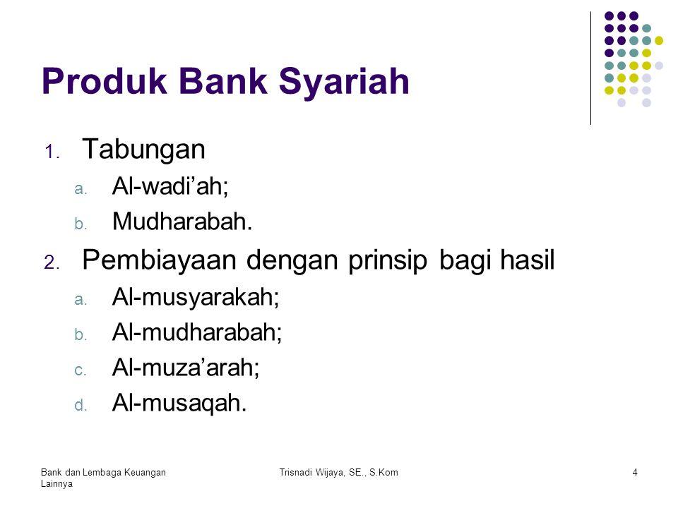Produk Bank Syariah 1. Tabungan a. Al-wadi'ah; b. Mudharabah. 2. Pembiayaan dengan prinsip bagi hasil a. Al-musyarakah; b. Al-mudharabah; c. Al-muza'a