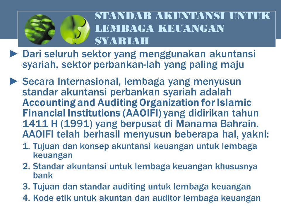 STANDAR AKUNTANSI UNTUK LEMBAGA KEUANGAN SYARIAH ► Dari seluruh sektor yang menggunakan akuntansi syariah, sektor perbankan-lah yang paling maju ► Sec