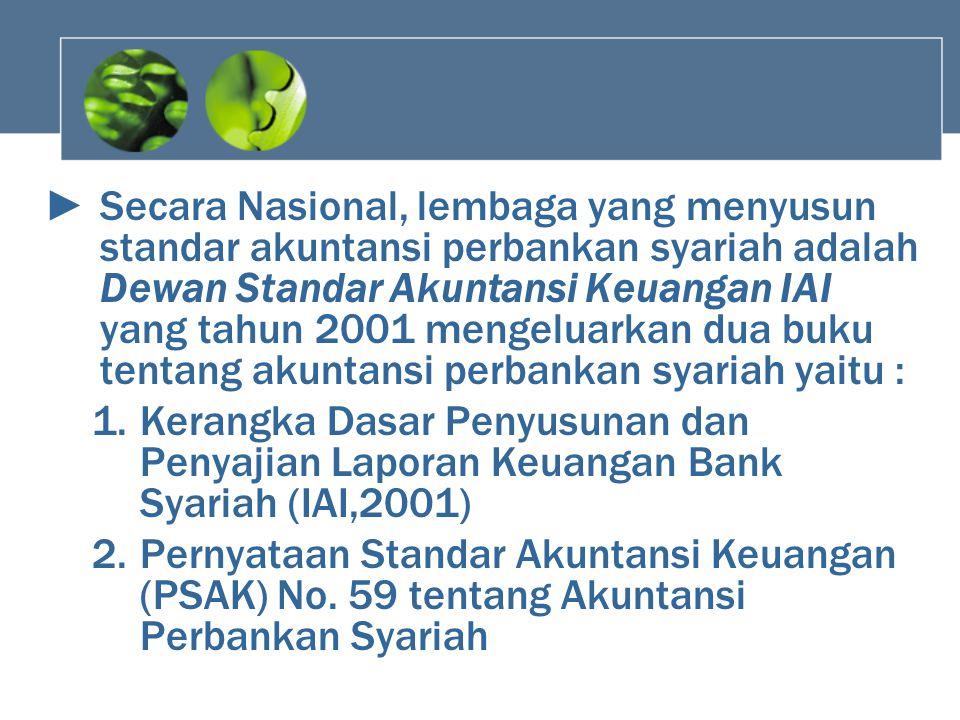 ►Secara Nasional, lembaga yang menyusun standar akuntansi perbankan syariah adalah Dewan Standar Akuntansi Keuangan IAI yang tahun 2001 mengeluarkan d
