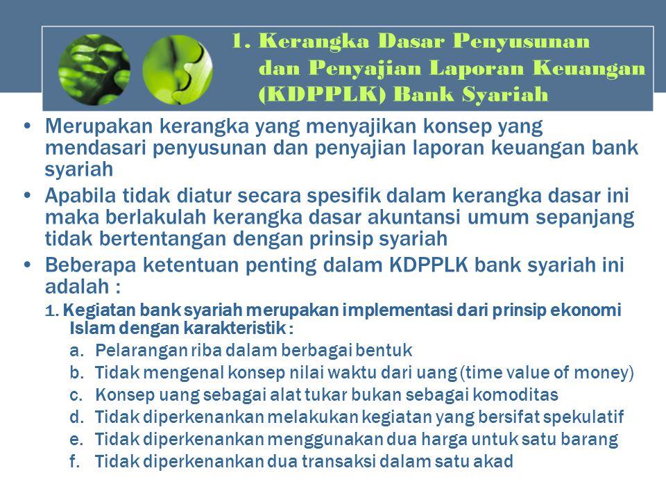 1. Kerangka Dasar Penyusunan dan Penyajian Laporan Keuangan (KDPPLK) Bank Syariah Merupakan kerangka yang menyajikan konsep yang mendasari penyusunan