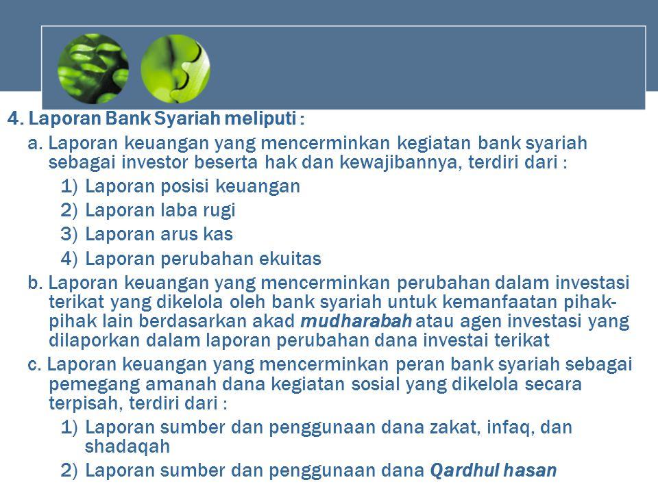 4. Laporan Bank Syariah meliputi : a. Laporan keuangan yang mencerminkan kegiatan bank syariah sebagai investor beserta hak dan kewajibannya, terdiri