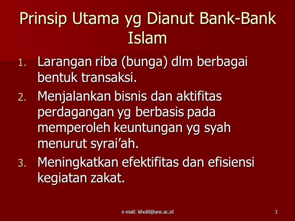 e-mail: kholil@uns.ac.id3 Prinsip Utama yg Dianut Bank-Bank Islam 1.