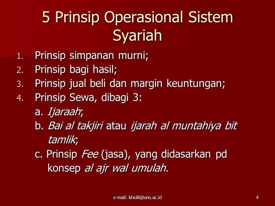 e-mail: kholil@uns.ac.id4 5 Prinsip Operasional Sistem Syariah 1.