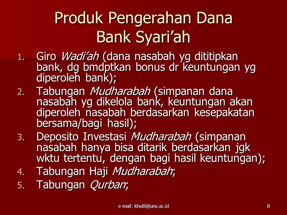 e-mail: kholil@uns.ac.id9 Produk Penyaluran Dana Bank Syari'ah 1.