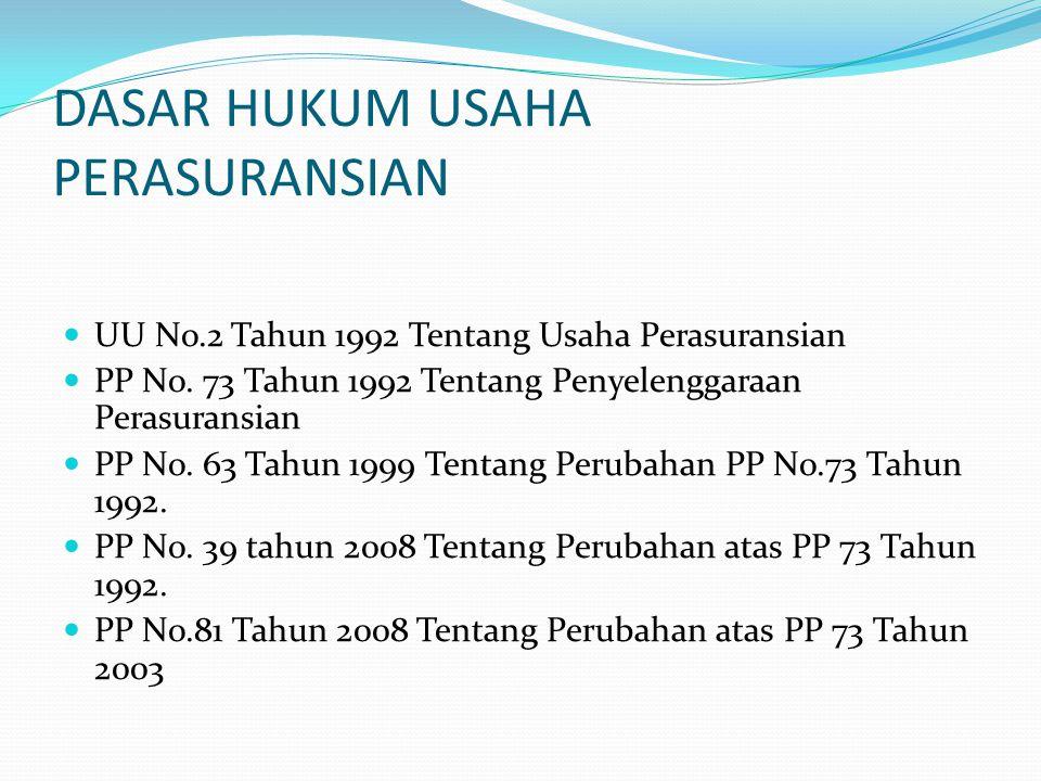 DASAR HUKUM USAHA PERASURANSIAN UU No.2 Tahun 1992 Tentang Usaha Perasuransian PP No. 73 Tahun 1992 Tentang Penyelenggaraan Perasuransian PP No. 63 Ta