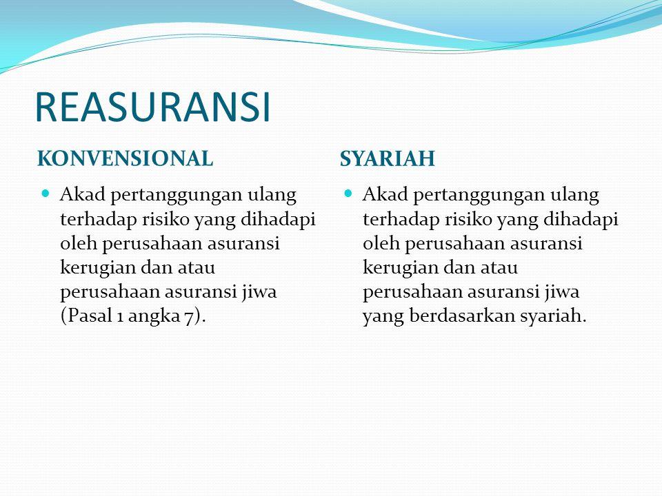 REASURANSI KONVENSIONAL SYARIAH Akad pertanggungan ulang terhadap risiko yang dihadapi oleh perusahaan asuransi kerugian dan atau perusahaan asuransi