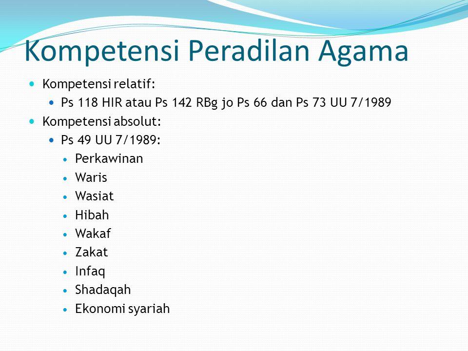 Kompetensi Peradilan Agama Kompetensi relatif: Ps 118 HIR atau Ps 142 RBg jo Ps 66 dan Ps 73 UU 7/1989 Kompetensi absolut: Ps 49 UU 7/1989: Perkawinan